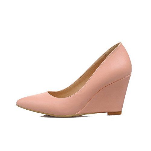AgooLar Femme Pointu à Talon Haut Matière Souple Couleur Unie Tire Chaussures Légeres Rose