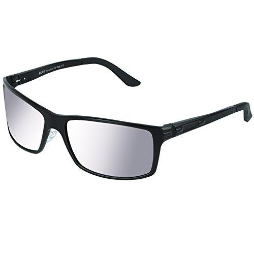 DUCO Herren Sonnenbrille Polarisiert Fahrergläser Metall Rahme 9018 (Schwarzer Rahmen Spiegel Linse)