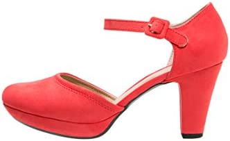 Anna Field Plateau Pumps Mujer Rojo O. Negro, einfarbig–Mary Jane Pumps semialto elegante & Solemne Zapatos, cerrado, Retro & con correas