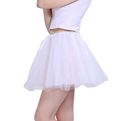 k Tüllrock 50er 80er Kurz Ballet 3 Layers Tanzkleid Unterröcke Trachtenröcke Zubehör für Frauen Mädchen, 7 Farben (Weiß) ()