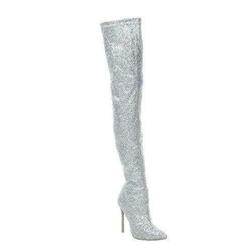 Angkorly Damen Schuhe Oberschenkel-Boot - Stiletto - Sexy - Abend - Glänzende - Glitzer Stiletto High Heel 11 cm - Silber 708-10 T 37 (High Winter Boot Knee)