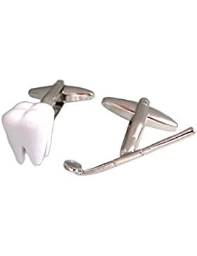Zahn Instrument Manschettenknöpfe weiss und silbern + Geschenkbox
