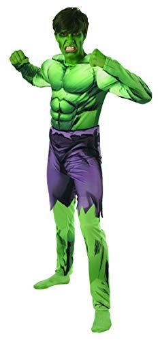 Fancy Ole - Herren Männer Männer Hulk Kostüm Kostüm aus Avengers Assemble mit Muskelpolster Einteiler Overall und integrierter Hose, perfekt für Karneval, Fasching und Fastnacht, M/L, Grün