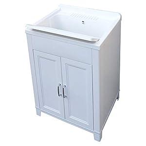 Adventa – Lavadero de Resina para Interior y Exterior, color Blanco, 60 x 50 x 85 cm