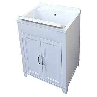 Adventa – Lavadero de Resina para Interior y Exterior, 60 x 50 x 85 cm, Color Blanco