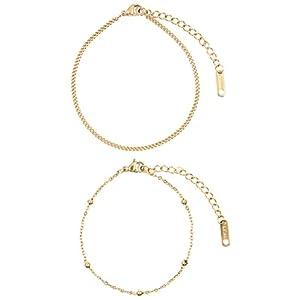 Happiness Boutique Damen Zarte Armbänder Vergoldet | Filigrane Armketten 2-er Set aus Edelstahl