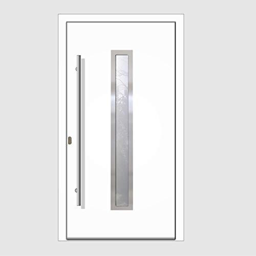 Haustür Welthaus WH94 RC2 Premiumtür Aluminium mit Kunststoff LA211 Tür nach mass gemacht Farbe aussen weiß Innen weiß außengriff BGR1400 innendrucker M45 Zylinder 5 Schlüßel