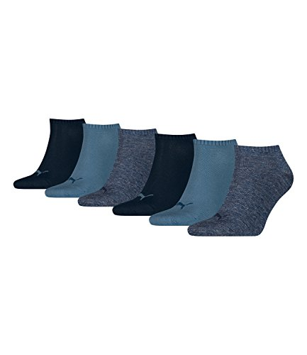 Puma unisex Sneaker Socken Kurzsocken Sportsocken 261080001 6 Paar, Farbe:Blau, Menge:6 Paar (2 x 3er Pack), Größe:39-42, Artikel:-460 denim blue