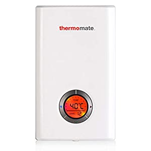 Thermomate ELEX9.6 9.6kW Calentador de Agua Instantáneo Eléctrico sin Tanque, con LED Pantalla Digital Blanco y Termostato Smart Touch