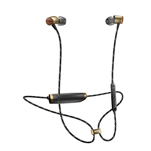 House of Marley Uplift 2 Bluetooth Wireless, Fino a 8 ore di riproduzione, Microfono con 3 pulsanti di controllo ideale per IOS e Android, Ultraleggeri, Ottone