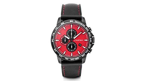 Audi 3101700400 Original Armbanduhr Herren Chronograph Sport, rot/schwarz