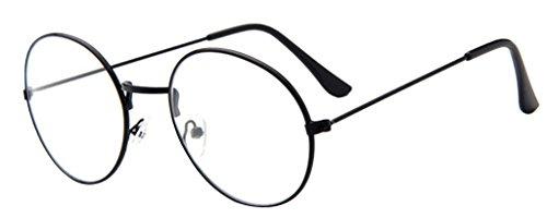 La vogue Brille Nerdbrille Retro Rund Unisex Schwarz Linsebreite52mm