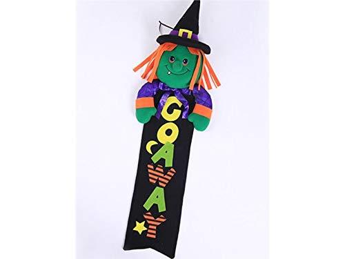 Yyanliii divertente divertente strega pull flag decorazione di halloween ghirlanda hanging banner per party (nero)