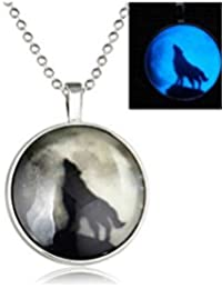 ELECTROPRIME Retro Lady Wolf Glow In The Dark Pendant Charm Necklace Steampunk Jewelry