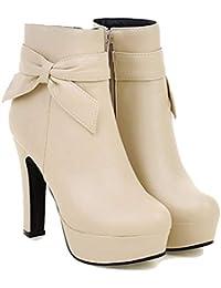 Plataforma de Mujer Zapatos de tacón Alto de Cuero Zapatos de Cremallera Bombas Primavera otoño Stilettos Punta…