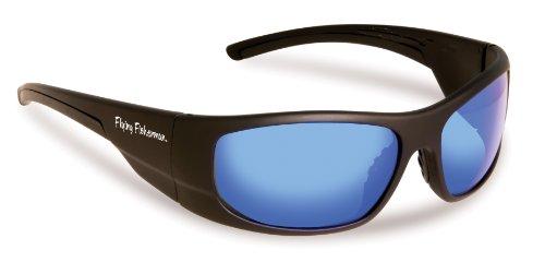 Fliegen Fisherman Cape Horn polarisierte Sonnenbrille (matte Black Frame, Rauch/blau Spiegel Lenses)