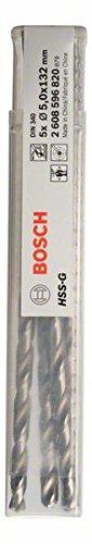 Bosch Professional Metallbohrer HSS-G geschliffen mit langer Arbeitslänge (5 Stück, Ø 5 mm)