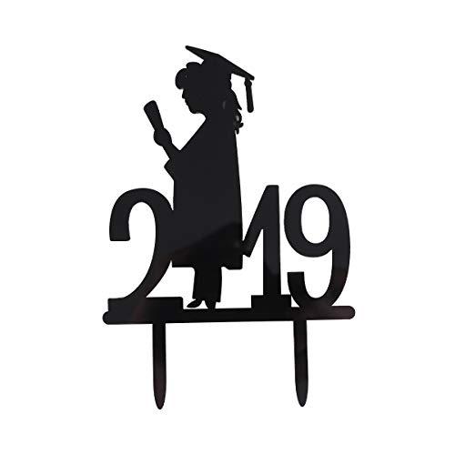 Amosfun 2019 Kuchen Topper Picks Abschlussfeier Kuchen Dekorationen Mädchen Dekor Insert Card für Party Sammeln Schule (Black Girl Pattern)