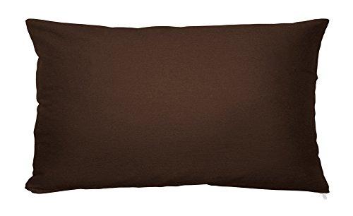 Kissenbezug Kissenhülle 100% Baumwolle mit Reißverschluss Kopfkissen Kissen Bezug ca. 40x80 cm in Kaffee Braun Uni