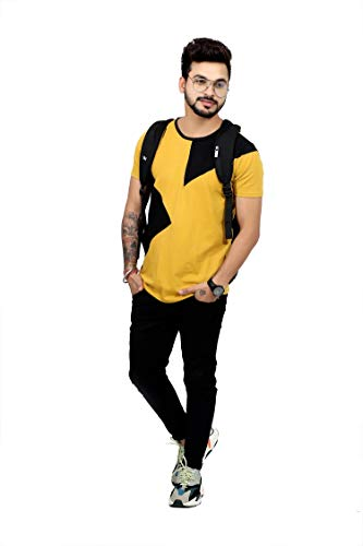 THE EG STORE Men' s Cotton Round Neck Half Sleeve T Shirt (Yellow, Medium)