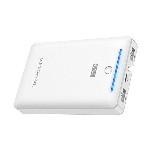 Foto RAVPower Caricabatterie Portatile 16750mah da Uscita 4.5A (2.4A+2.1A), Entrata 2A Caricatore Portatile, Batteria Esterna, Carica Veloce, Ultra Compatto per Cellulari, Tablet e Smartphone (Bianco)