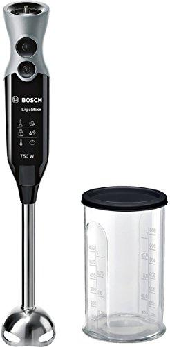 Bosch ErgoMixx MSM67110 - Batidora de mano, 750 W, regulador de velocidad y función Turbo, cúpula con cuatro cuchillas, con vaso de mezclas, color negro y gris
