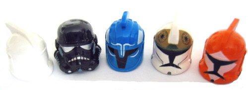 LEGO Star Wars - 5 Verschiedene HELME für Clone Trooper, Clone Gunner, Stormtrooper und andere - Davon EIN ganz seltener OHNE Aufdruck (Star Wars Clone Trooper Helm)