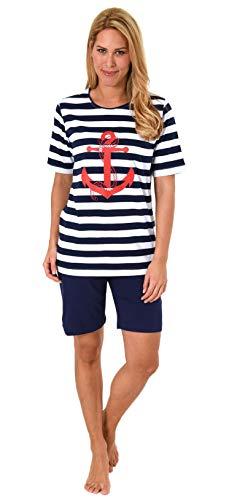 Damen Shorty, kurzer Pyjama mit Bermuda Hose - Maritimer Look - 62812, Farbe:Marine, Größe2:40/42 (Damen-pyjama)