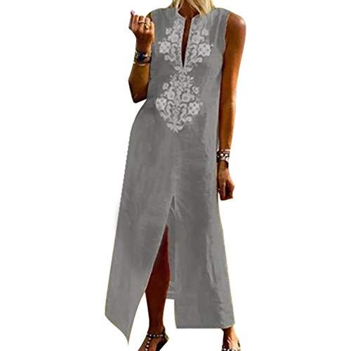 Qiansu Frauen Sommer Boho Kleid Lässige Floral Stickerei Maxi Kleider Vintage Sleeveless Baumwolle Leinen Kaftan Langes Kleid, S-4XL - Floral Sleeveless Jersey