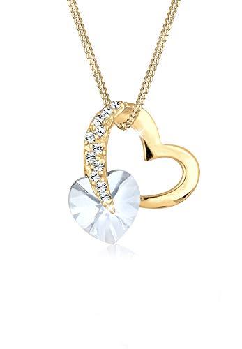 Elli Halskette Damen Herz Glamourös Swarovski Kristall in 925 Sterling Silber
