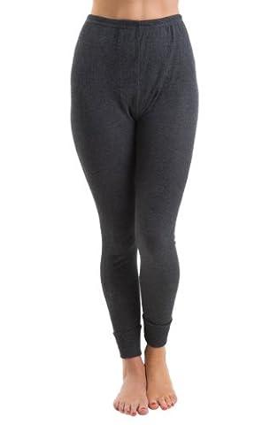 Womens Jacquard Rib Long Jane Thermal Underwear Charcoal, 10-12