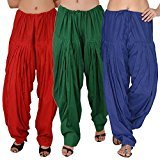 Bottomline Women's Cotton Patiala Salwar Combo (_Green,Blue & Red_Free Size)
