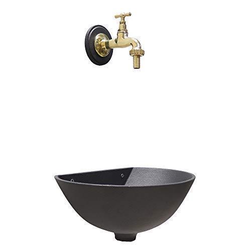 Wandbrunnen, Modell 600, graue Farbe, gusseisern mit einem Wasserhahn aus poliertem Messing für Haus und Garten.