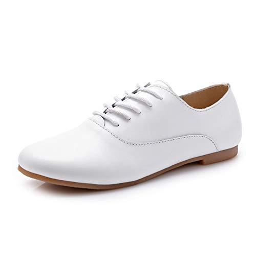 Damen Oxford Schuhe Ballerina Leder Wohnungen Mokassins schnüren Schuhe Slipper Frauen Schuhe Leder (Womens Patent-oxford-schuhe)