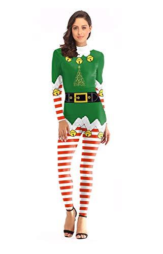 Weihnachtskostüm, 3D-Druck Erwachsenen Weihnachtskostüm, Engen Overall Für Damen, Bühnenkostüm, Geeignet Für Weihnachtsfeier, Geburtstagsfeier Und Verschiedene Urlaubspartys,L