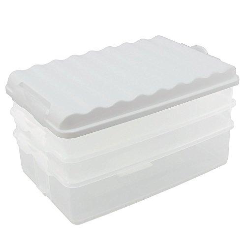 COM-FOUR® Set de 4 tranches de nourriture, carrés, avec couvercle, contenant transparent, couvercle blanc, environ 25 x 15,5 x 14 cm (1 set/blanc)