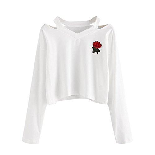 MERICAL Fashion Womens Long Sleeve Sweatshirt Rose Print Causal Tops Blouse