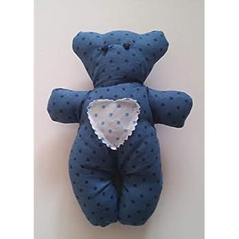 Stofftier kleiner Bär blau Kuscheltier Handarbeit Handmade