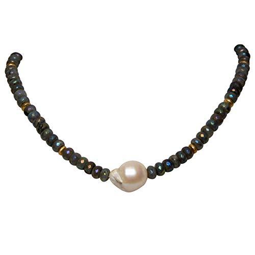 Labradorit Barockperle Collier Halskette Nima Statement Silber Edelstein Handgefertigt Designerkette