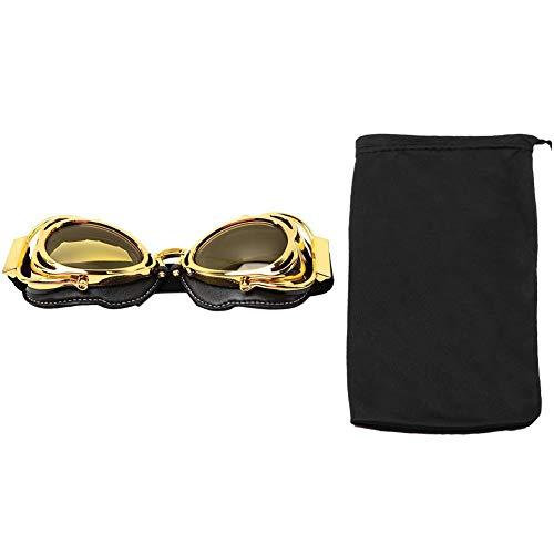 Retro Motorradbrille Winddichter Motorrad schutzbrille Outdoor Sicherheit Augenschutzbrille Anti-Wind Anti-Sand Helmbrille Sport Sonnenbrille mit goldenem Rahmen zum Radfahren Klettern(Gelbe Linse)