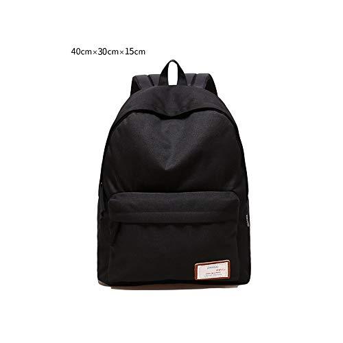 Laptoprucksack, einfacher einfarbiger Schultercomputerrucksack, College-Windrucksack, Reisetasche (groß/klein optional, schwarz/blau) (Color : Black(small))
