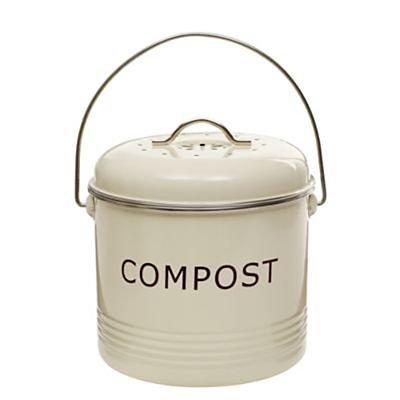 Komposteimer, cremefarben, aus Stahl mit austauschbarem Aktivkohlefilter, 3,5 L