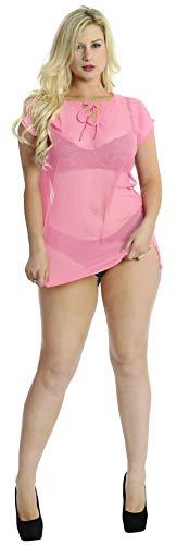 LA LEELA Super Schiere leichte Chiffon 5 Unzen Badeanzug Frauen schlicht lässig Kaftan Plus Größe 4 in 1 Strand-Bikini-Vertuschung Tunika Lounge Basic Kleid Rosa XL -