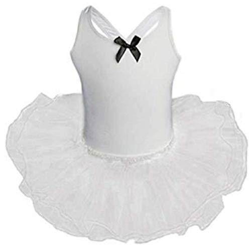 AGOGO 2018 Baby Kinder Mädchen Ballett Tänzerin Halbarm Dancewear Spitze Blume Gymnastik Trikot Stretch Tanzen Training Kostüm (Weiß, XXXL)
