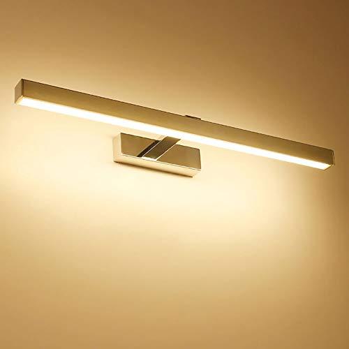 LWAJ LED Spiegelleuchte Bilderleuchte Schranklampe Wandleuchte aus Aluminum Silber, warmweiß Badezimmerlampe Badlampe Spiegel Wand Schminklicht,Warm-Light,40.5cm/9W