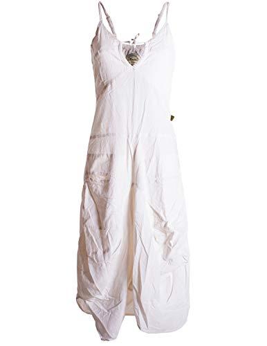 Vishes - Alternative Bekleidung - Lagenlook Ballonkleid mit verstellbaren Trägern weiß 32-34