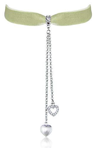 LUISIA Samt Kropfband Mattea mit Herz Ketten und Strass - Lindgrün - Choker Halsband Elastisch Glas Kristall (Burlesque Grüne Kostüm)