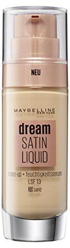 Maybelline Dream Satin Liquid Make-up Nr. 30 Sand, für einen natürlich strahlenden Teint mit zart schimmerndem Satin-Finish, mit Feuchtigkeitsserum und mattierendem Primer, 30 ml -