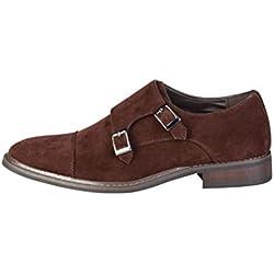 Pierre Cardin Hombre GR5011 Marrón Cuero Zapatos De Correa De Monje 8 UK