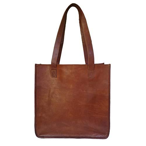 Mad Over Shopping, Womens Schulter Tasche aus echtem Leder Reise Handtasche große braune Damen Käufer Geldbörse -